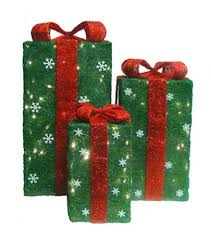 set of 3 green sisal gift boxes lighted yard