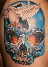 my shoulder tattoos matching skulls in opposite colors
