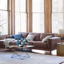 Brown Leather Sectional Sofa With Chaise Dekalb Leather 2 Chaise Sectional West Elm