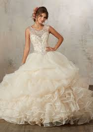 jeweled beading on a ruffled organza ballgown style 89132 morilee