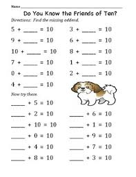 friends of 10 number line and practice worksheets by jersey teacher