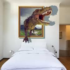 3d window through dinosaur wall stickers decals baby nursery