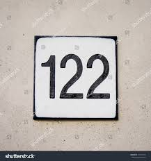 House Plate House Number One Hundred Twentytwo Engraved Stock Photo 110770148