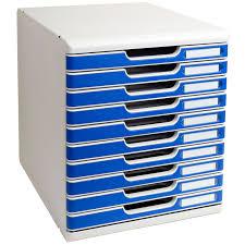 bloc de classement bureau exacompta modulo 10 tiroirs gris bleu module de classement