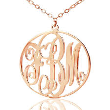 personalized monogram necklace monogram necklace with circle frame name pendant gold color