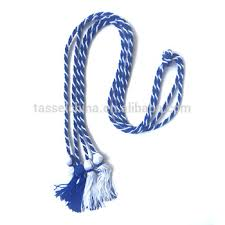 custom graduation tassels custom rayon intertwined royal white honor cords tassel for