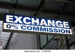 bureau de change no commission shop sign stock photo royalty free