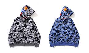 bape is releasing camo half and half shark full zip hoodies