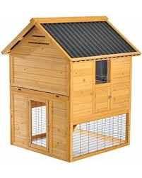 amazing deal pawhut 41 u201d wooden 2 story rabbit hutch with outdoor