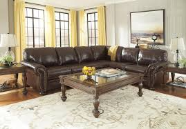 Ashley Furniture 3 Piece Sectional 3 Piece Leather Match Sectional With Rolled Arms Nailhead Trim