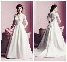 chapel wedding dresses vintage 3 4 sleeve illusion wedding dresses covered button