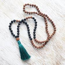 tassel necklace beads images Knotted necklace 108 mala beads bodhi knotted necklace lava stone jpg