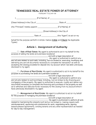 free tennessee real estate power of attorney form pdf word