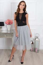 spodnica tiulowa spódnica tiulowa midi na gumie szara cocomoda pl odzież d