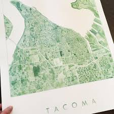 Tacoma Washington Map by Tacoma Watercolor City Blocks Map Print U2014 Turn Of The Centuries