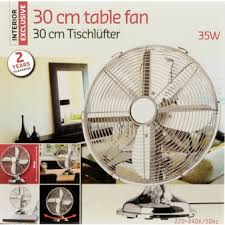 Happy Home Products Interior Exclusive Stainless Steel Table Fan 30cm Happy Home