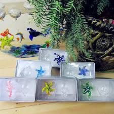 6pcs blown glass starfishs small statues home aquarium
