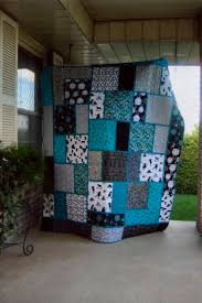 black white and teal quilt pattern called big block quilt from