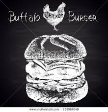 chalkboard rough sketch drawing large burger stock vector