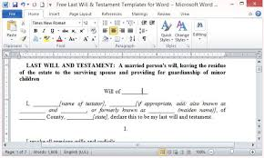 template wills free last will and testament template for word