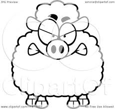 cartoon clipart of a black and white angry sheep vector outlined