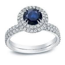 sapphire halo engagement rings ellie blue sapphire halo engagement ring in 14k white gold