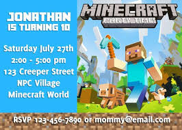 minecraft birthday invitation minecraft birthday invitation in