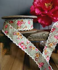 floral ribbon green vintage floral ribbon with scalloped edge