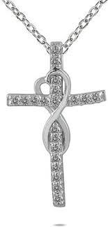 1 5 carat infinity cross necklace 10k white gold