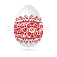 easter ethnic ornamental egg with cross stitch pattern isolated