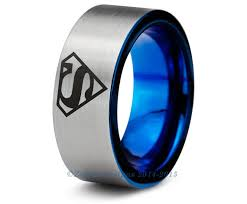 superman wedding rings superman blue tungsten wedding band ring mens womens pipe cut