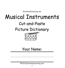 musical instruments cut and paste picture dictionary a short
