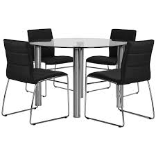 Black Round Dining Table And Chairs Napoli Black Round Table U0026 4 Chairs