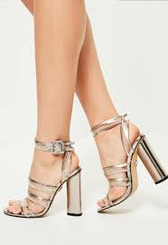 silver clear multi strap block heeled sandals missguided australia