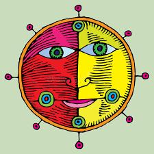 nautical sun and moon symbol stock vector illustration of