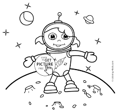 spaceman coloring pages for kids on the moon printable free