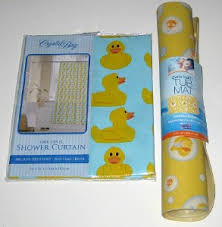 Yellow Duck Bath Rug Rubber Ducky Shower Curtain And Tub Mat Set Yellow Duck Tubs