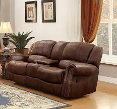 Loveseat Recliner With Console Homelegance Levasy Double Glider Reclining Love Seat With Center