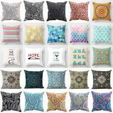 geometric bohemian paisley cotton linen cushion cover pillow case