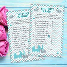 price is right baby shower teal blue and gray elephant the price is right baby shower