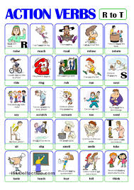 Action Linking Verbs Worksheet Pictionary Action Verb Set 4 From R To T Esl Worksheets Of