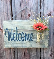 Rustic Outdoor Welcome Sign In BlueGreen Wood Signs Front - Custom signs for home decor