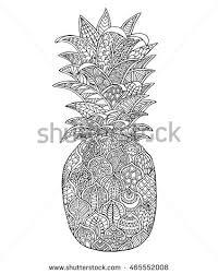 line art design pineapple coloring book stock vector 377866078