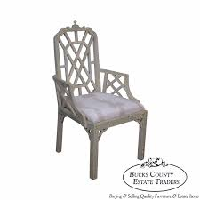 Chinese Chippendale Chair by Hollywood Regency Faux Bamboo Painted Chinese Chippendale Arm