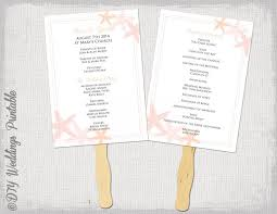 petal fan wedding programs fan program template starfish coral diy wedding order of
