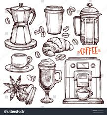 coffee hand drawn collection vector sketch stock vector 518725729