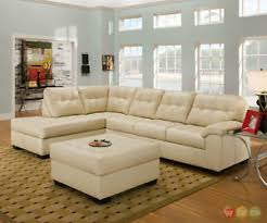Soho Sectional Sofa Soho Contemporary Ivory Bonded Leather Sectional Sofa Ottoman