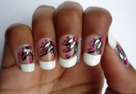 the sequined nail french manicure with flowers