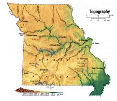 Terrain Map Of Usa by Missouri Topographic Map