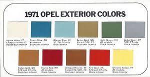 1971 buick opel paint chip color brochure chart opel gt rallye